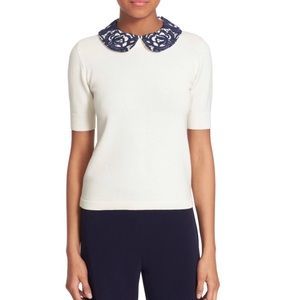 Alice & Olivia Braylee Lace Collar M Sweater White